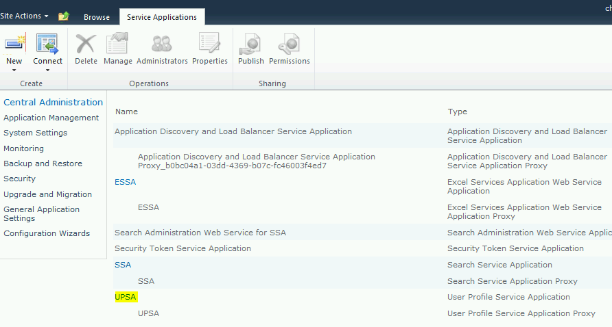 manage service applications sharepoint 2013